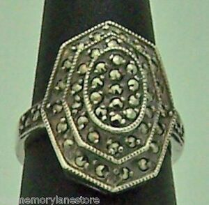 LOVELY-ESTATE-MARCASITE-STERLING-SILVER-COCKTAIL-BAND-RING-SZ-6-25