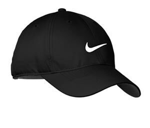 NEW NIKE HAT-BLACK WITH WHITE SWOOSH-DRI-FIT-BASEBALL CAP-ADJUSTABLE ... 6dba85d5398