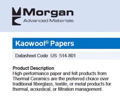 "Kaowool 1//16/"" x 20/"" x 24/"" Ceramic Fiber Paper 500 Grade Thermal Ceramics 2300F"