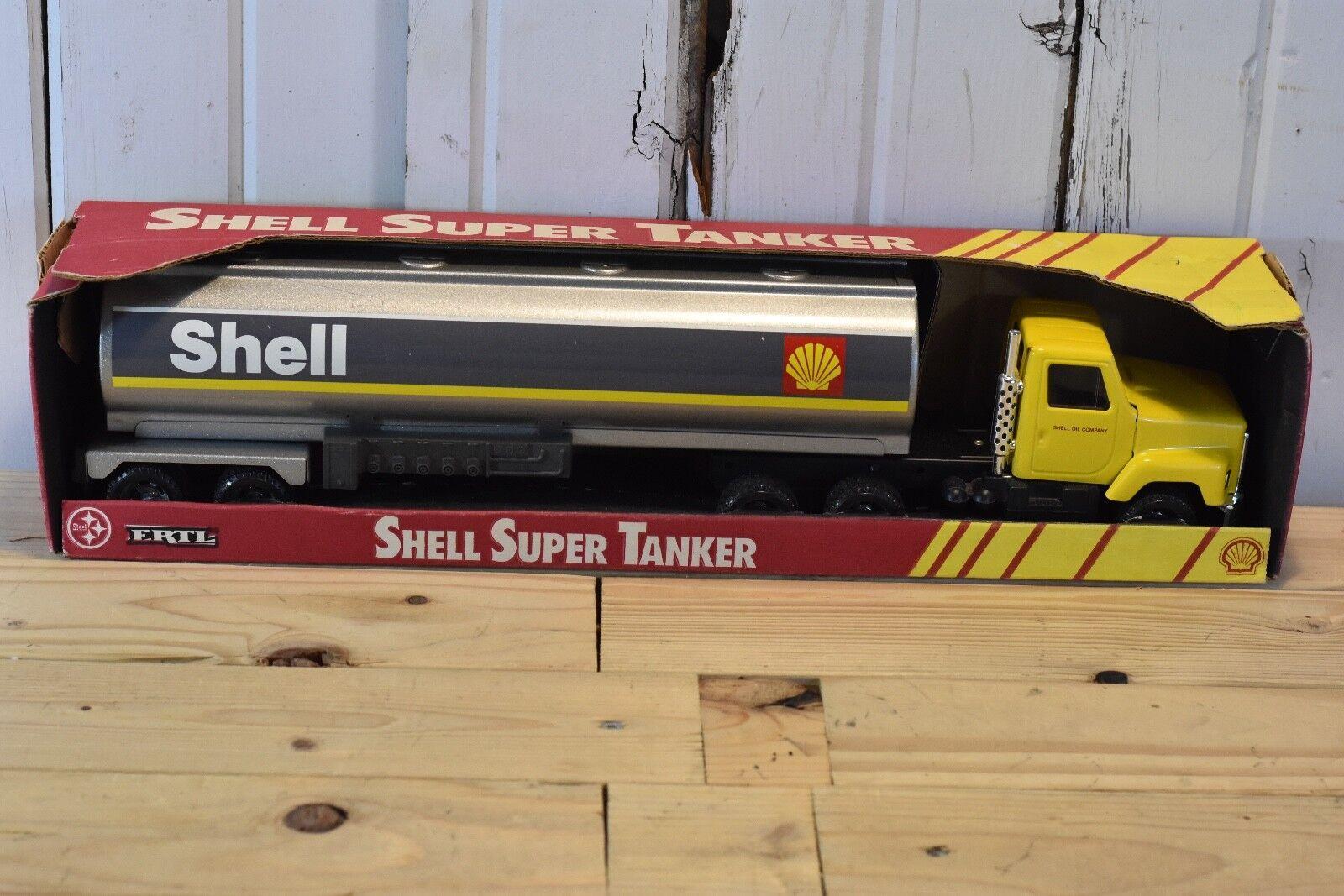 VINTAGE ERTL SHELL SUPER TANKER  SEMI TRAILER TRACTOR