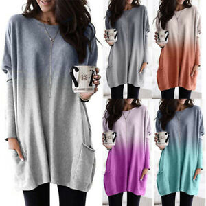 Autumn-Womens-Jumper-Basic-Long-Sleeve-Tee-Ladies-Loose-Ombre-Shirt-Blouse-Tops