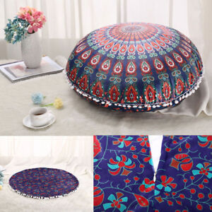 Mandala Round Throw Pillow Case Sofa Cushion Covers Bohemian Floor ...