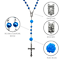 Catholic-Blue-Pearl-Beads-Rosary-Necklace-Our-Rose-Flowers-Lourdes-Medal-Cross thumbnail 2