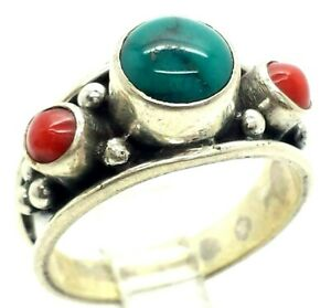 Navajo-Turquoise-Coral-Sterling-Silver-925-Ring-6g-Sz-8-NEW693