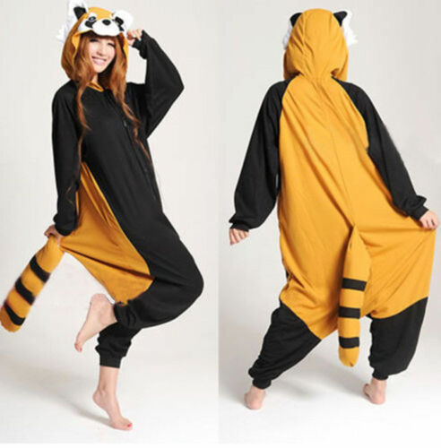 Raccoon Red Panda Costume Kigurumi Anime Cosplay Pyjamas Onesie12 Fancy Dress UK