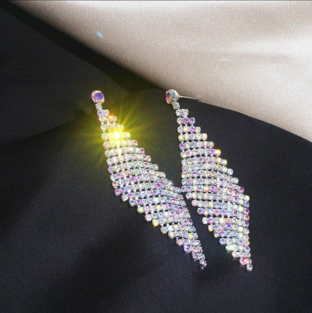 -we❤- Drop Long white Cz Crystal Shining Party Earrings Zara Style