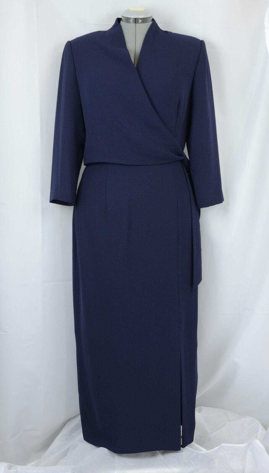women Morgan Dress Womens 12 Full Length bluee Faux Wrap Wrap Wrap Dress Poleyster Vintage c41822