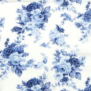 20x Lunch Paper Napkins Serviettes Party Decoupage Blue Roses Antoinette