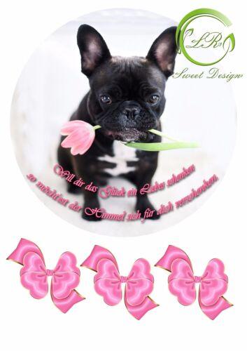 Hund mit Blume Tortenaufleger,Geburtstag,Tortendeko