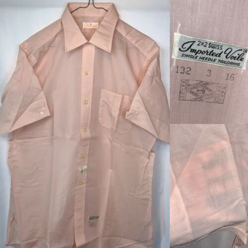 Gorgeous NOS 60's Pink Voile Sheer Men's Large Sho