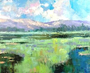 Montana Painting original landscape oil on canvas impressionism art Emiliya Lane