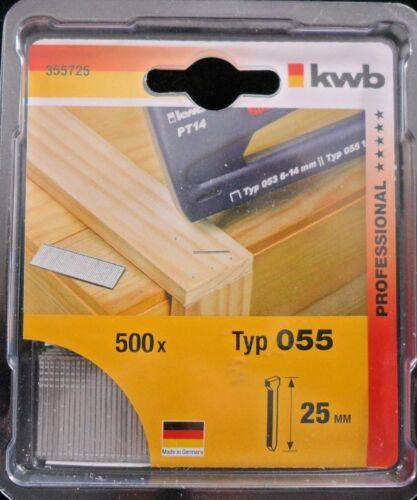 25mm Tacker Nägel # 355-725 2 Pakete KWB Tackernägel Typ 55 // 055 1000 Stück