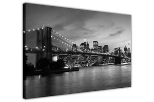 NEW-YORK-BRIDGE-BLACK-AND-WHITE-CANVAS-WALL-ART-PRINTS-PHOTO-PICTURES-DECORATION