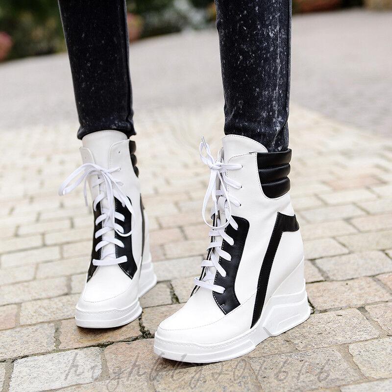 Damen Schuhe Halbschuhe Stiefel Turnschuhe Alltag Keilabsatz Wedge 34-43 Fashion