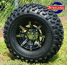 """GOLF CART 10"""" MACHINED BLACK SPIDER ALUMINUM WHEELS and 22"""" AT TIRES (SET OF 4)"""
