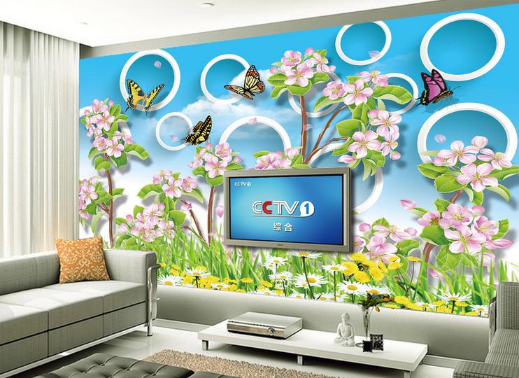 3D Circle Flowers Blau Sky7 Wallpaper Mural Paper Wall Print Wallpaper Murals UK