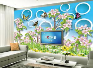 3D Circle Flowers bluee Sky7 Wallpaper Mural Paper Wall Print Wallpaper Murals UK