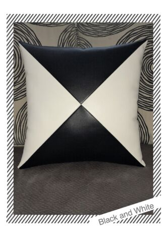 Accent Decorative leather pillow black white 4 triangles case cushion cover
