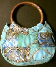 SARI BAG GLITTER BLUE VINTAGE BEADS EMBROIDERY FABRIC INDIA ANTIQUE WOOD HANDLE