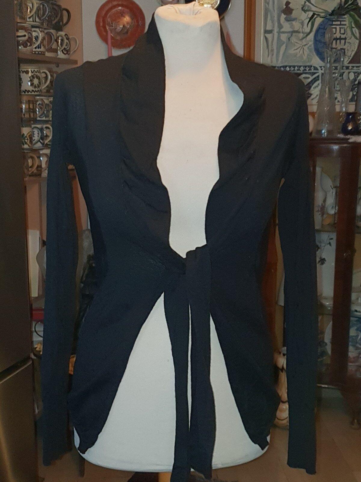 TRU TRUSSARDI  100% Lana Virgin Wool schwarz Top Cardigan Größe S   M