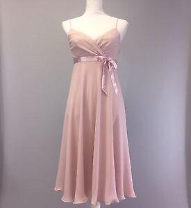 Express-Womens-Dress-Formal-Pink-100-Silk-Size-4-Spaghetti-Strap-Flare-A-line