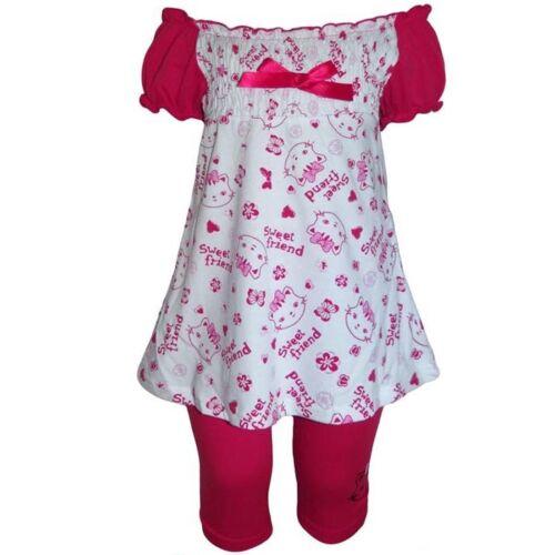 Nouveau Enfants Fille 2-Diviseurs Set robe d/'été Capri Leggings Tunique Longtop Robe