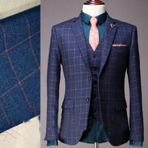 Navy Men/'s Suits Tweed Herringbone 3 Pieces Tuxedos Notch Lapel Grooms Wedding