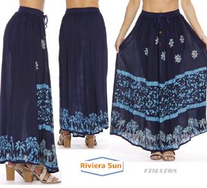 Light Blue Women/'s Plus Size Long Maxi Ankle Lenght Boho Skirt,1X,Navy