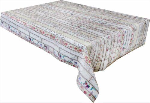 232 Floral whitewash wood Vinyl Tablecloth Wipe Clean Textile Back 137cm Wide