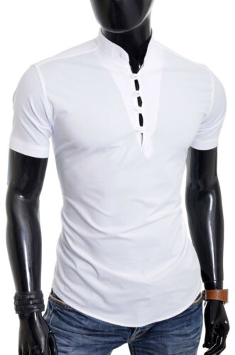 D/&R Mens Short Sleeve Shirt White Grandad Collar Slim Fit Summer Holiday Wedding