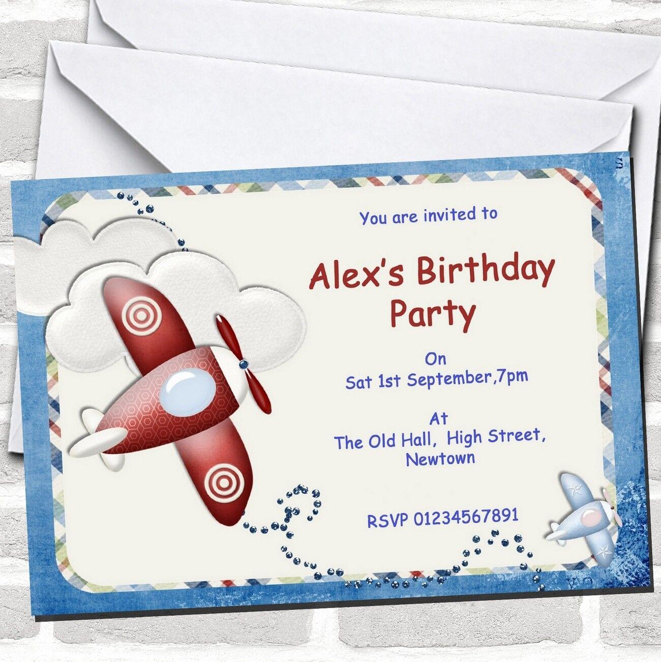 Aeroplane Blau rot Plane Theme Birthday Party Invitations