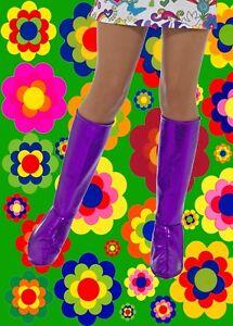 Details zu 525✪ 60er 70er Jahre Hippie GoGo Festival Stiefel Cover Überzieher lila