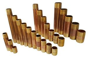 """1 TO 25 RED BRASS NIPPLE MNPT THREADED PIPE, CLOSE, LEAD FREE 3/8"""" 1/2"""" 3/4"""" 1"""""""