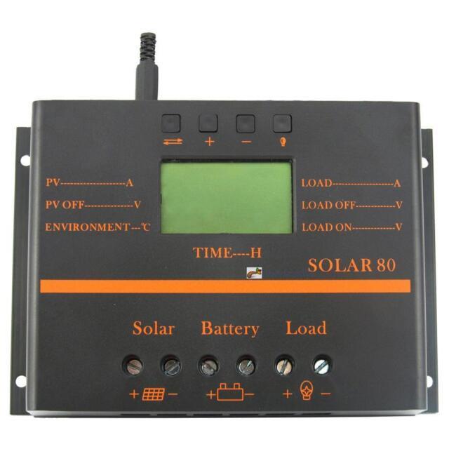 80A LCD PWM Solar Battery Regulator Charge Discharge Controller 12V 24V USB GA
