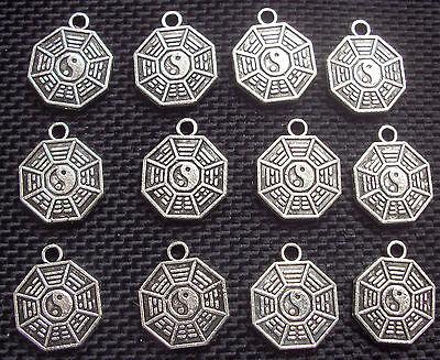 10 Yin and Yang Hexagram Charms Tao IChing Silver Tone Metal