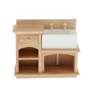 1-12-Dollhouse-Furniture-Miniature-Wooden-Stove-Sink-Cabinet-Cupboard-Decor
