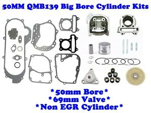 Upgrade for 50cc 139QMB Chinese Sco... Large Valve 100cc Big Bore kit 50mm