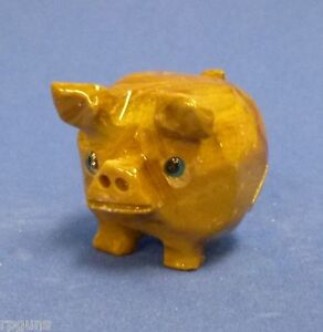 Hand-Carved-Stone-Animal-LUCKY-PIG-good-luck-figurine-piggy-bank-Bingo-Money-NEW