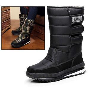 Pop-Men-039-s-Winter-Snow-Boots-Outdoor-Warm-Shoes-Boys-Waterproof-Mid-Calf-Boots
