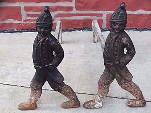 soldier-figural-American-Antique-Hessian-statue-Fireplace-Andirons-Foundry-Marks