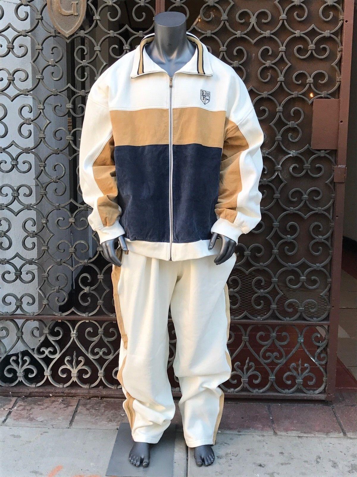 Men's Phat Farm Off White   Navy   Wheat Fleece & Suede High Quality Sweatsuit
