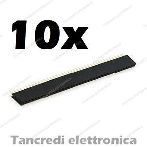 10x-Connettori-Strip-Line-Femmina-40-poli-40x1-Header-Socket-Female-passo-2-54mm