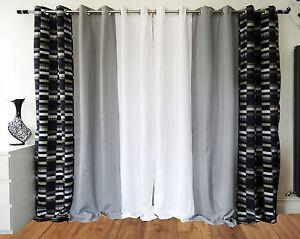 Paire-de-3-tons-damier-entierement-double-illets-rideaux-Checkerboard-gris