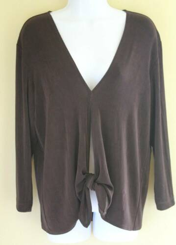 Chico's Travelers- Sz 2 L - Art-to-Wear Brown Fron