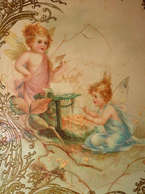 ANTIQUE VICTORIAN FAIRY CHILD GARDEN FLORAL FANTASY PRINT CELLULOID PHOTO ALBUM