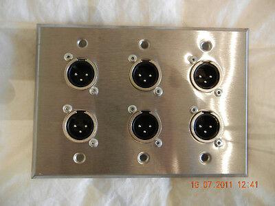 Stainless Steel Single Gang Wallplate w// 2 Neutrik OEM NC3MQL-H Male XLR Jacks