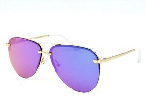 DIFF Eyewear TAHOE Unisex Aviator Sunglasses, GD-PU181 Gold / Purple Mirror #63I