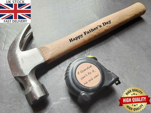 Personalised Engraved 16 oz Hammer Measuring Tape Gift for Him Men Grandad Dad