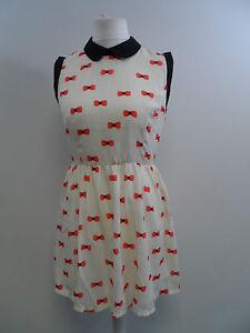 Style-London-Peter-Pan-Cream-Bow-Print-Gingham-Dress-Ladies-Small-Box12-51-c
