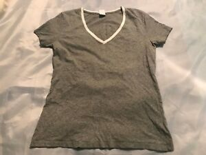 ZUMBA-Wear-V-Neck-Shirt-Women-039-s-Size-M-Medium-Gray-Short-Sleeve-Dance-Exercise